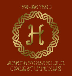 golden letters numbers monogram in round frame vector image
