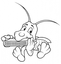 Grasshopper and harmonica vector