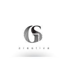 gs logo design with multiple lines and black vector image