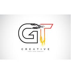 Gt creative modern logo design with orange and vector