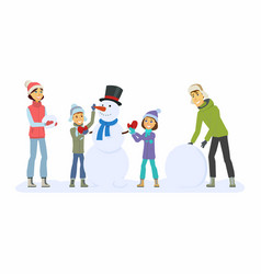 Happy family builds a snowman - cartoon people vector