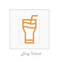 Icon of cocktail with modular grid long island vector