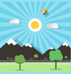 landscape with mountains trees and paper cut vector image