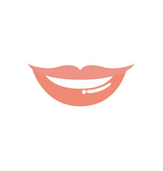 light colors of silhouette of red lips smiling vector image