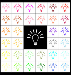 Light lamp sign felt-pen 33 colorful vector