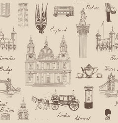 london landmark seamless pattern travel europe vector image
