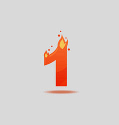 number one with red flames and sparks vector image