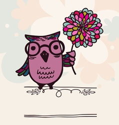 Owl on holiday background vector image