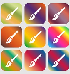 Paint brush artist icon nine buttons with bright vector