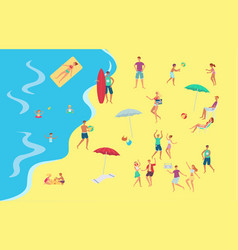people at sea side beach concept vector image
