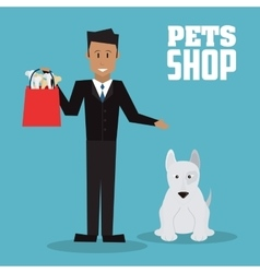 Pet shop with dog and man design vector image