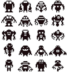 Pixel robot collection vector image