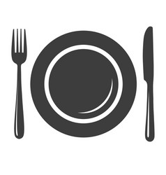 Plate with fork and knife icon vector