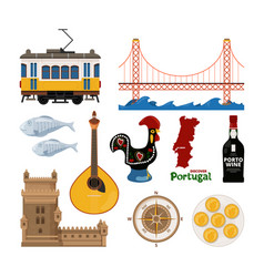 portuguese icon set in flat style vector image