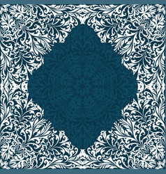 retro white boho floral pattern frame three vector image