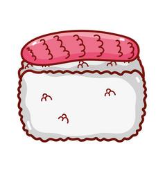 Rice fish food japanese menu cartoon isolated icon vector