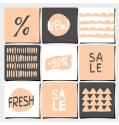 Sales and shopping tags abstract designs set vector