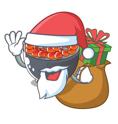 Santa with gift salmon roe with isolated on mascot vector
