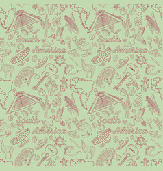 Seamless 1 pattern contour drawing on south vector