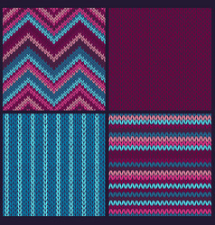seamless knitted pattern set of color backgrounds vector image