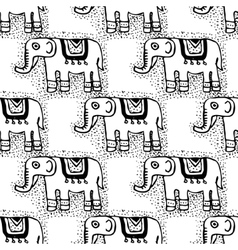 Seamless tribal texture with elephants vector image