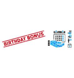 Service timetable mosaic and grunge birthday bonus vector