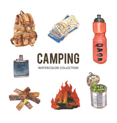 Set camping creative watercolor on white vector