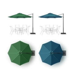 Set of Blue Green Patio Outdoor Beach Umbrella vector