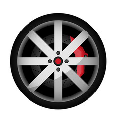 Side view sports car wheel icon vector