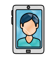 Smartphone device with contact picture vector