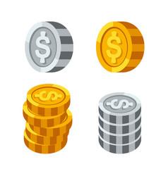 stacks gold money coins income profits cash vector image