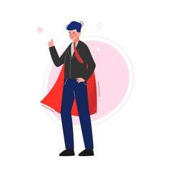Super man in red waving cape successful superhero vector