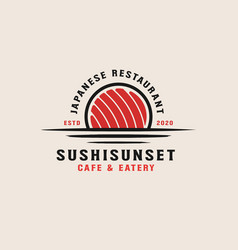 sushi sunset logo template vector image