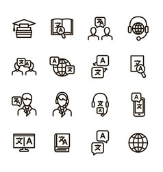 translation signs black thin line icon set vector image