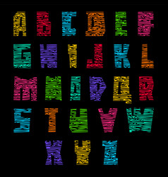 trendy font colored letters with cracks vector image