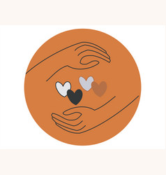 Two hands around hearts in different colors vector