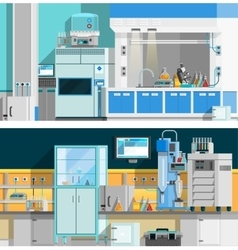 Two Science Laboratory Horizontal Banners vector image