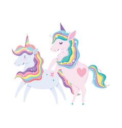 unicorns animal rainbow hair cartoon isolated icon vector image