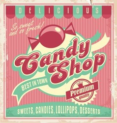 Vintage poster template for candy shop vector image