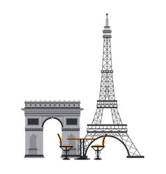 vintage table and chair on eiffel tower vector image