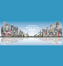 Welcome to mexico city skyline with gray vector