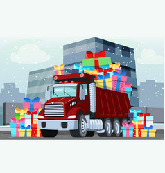 winter truck with gifts presents vector image