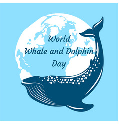 world whale and dolphin day whale and silhouettes vector image