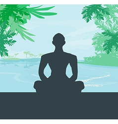 Yoga meditation silhouette by man at palms ocean vector