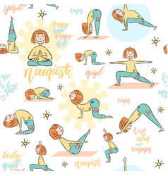 yoga seamless pattern with cartoon girl doing vector image