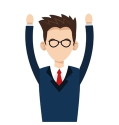 Young businessman with glasses and arms up icon vector
