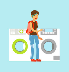 Young woman choosing new clothes washer appliance vector