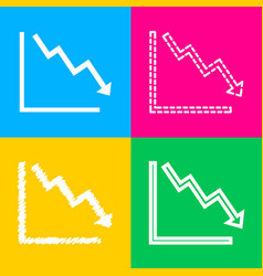 arrow pointing downwards showing crisis four vector image