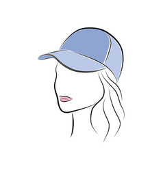beautiful young woman in a blue cap vector image vector image