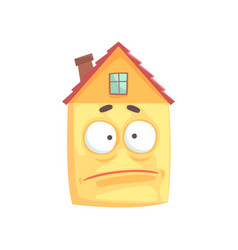 cute house cartoon character with sad expression vector image vector image